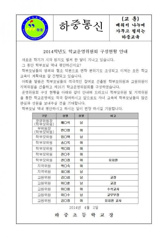 2014학년도 학교운영위원회 구성 안내